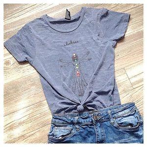 UO Chakras Vitruvian Man Rainbow Burnout T-Shirt